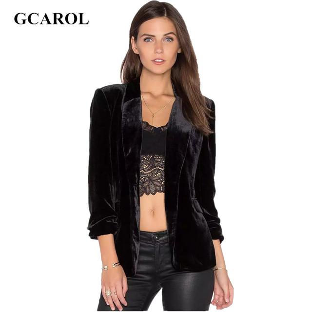 GCAROL Mulheres Euro Estilo de Veludo Blazer Entalhado Ternos Single-Breasted Botão Básico de Alta Qualidade OL Moda Blazer Magro Para 4 Mares