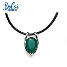 bolaijewelry,925 sterling silver with natural green agate gemstone pendant necklace leather chord fine jewelry for women