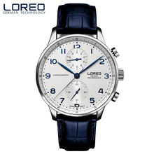 49e9e5027ce LOREO Mens Relógios Top Marca de Luxo Relógio de Quartzo Homens Esporte  Militar Relógios Homens De Couro À Prova D  Água relogio.