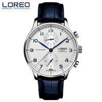 LOREO Mens Watches Top Brand Luxury Quartz Watch Men Waterproof Sport Military Watches Men Leather Relogio