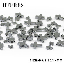BTFBES Jesus Cross Black Hematite Beads Natural Stone Supply 4/6/8/10/14mm Long Loose For Jewelry Making DIY Accessories