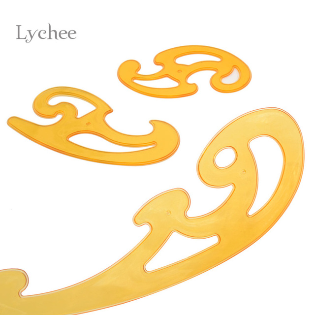 lychee 3 pieces set orange curve template ruler paper crafts tool