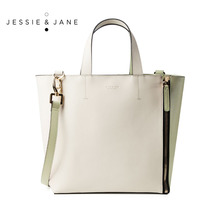 JESSIE&JANE Designer Brand 2016 New Women's Double-Faced Panneled Split Leather Totes 1266