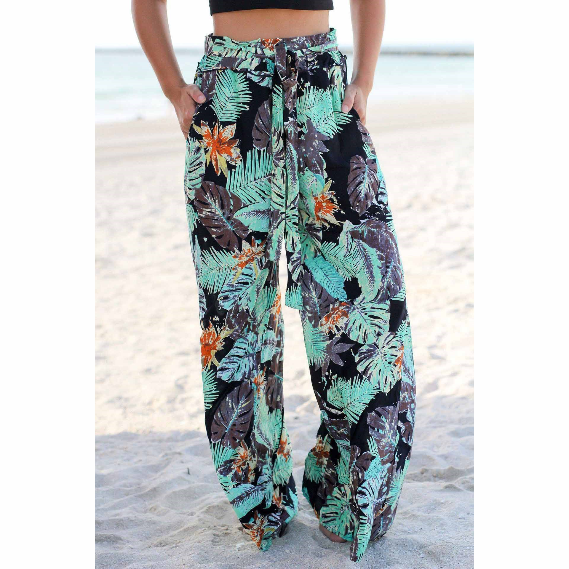 2019 Loose Women Pocket Boho Trousers Summer Beach Printed   Wide     Leg     Pants   Casual Elastic High Waist Lace Up Trousers