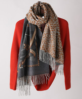 70% Wool 30% Cashmere Scarf Thick Scarf Shawl Women Double Side Printing Leopard Long Warm Thick Tassels 200*65cm