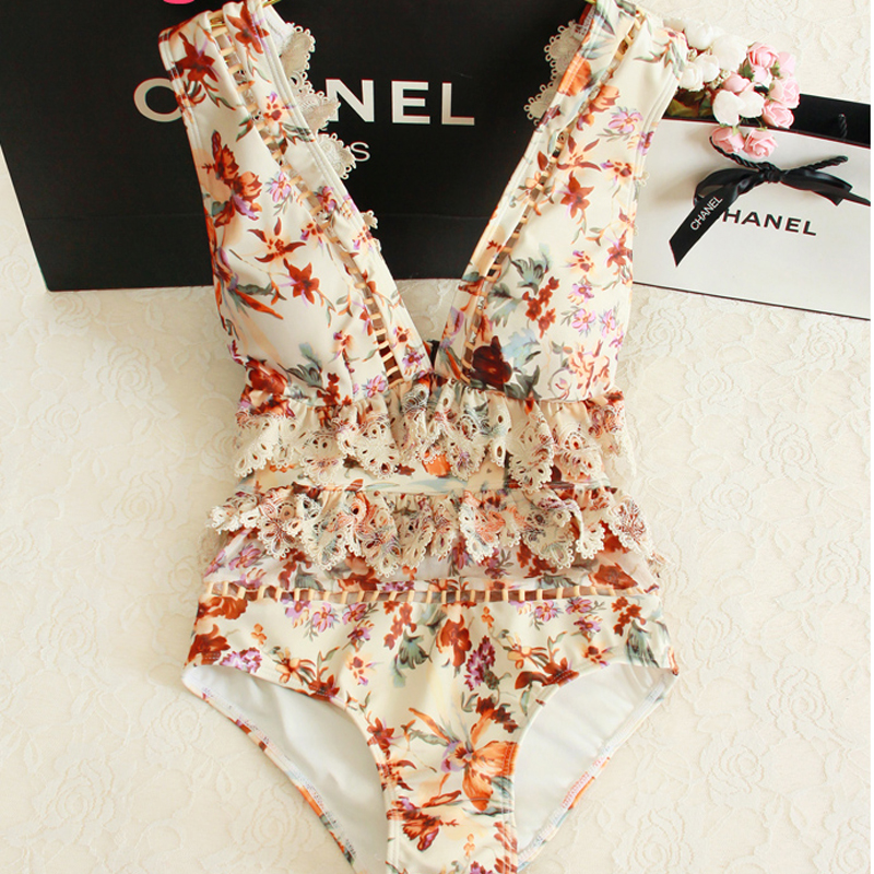 2019 New Deep V Lace One Piece Swimsuit Women Floral Print Swimwear Summer Swim Hollow Sexy