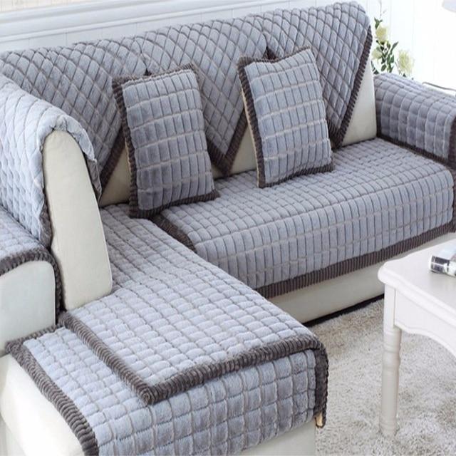 Plush White Gray Gingham Sofa Cover Long Fur Hoop Base Sectional Basic