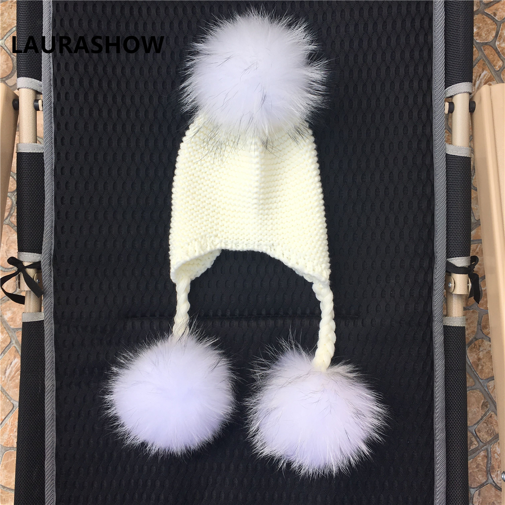 Image 5 - LAURASHOW Winter Kids Real Mink Raccoon Fur Ball Pompoms Hat Children Knitted Girls Boys Warm Cap Baby Beanies Wool-in Men's Skullies & Beanies from Apparel Accessories