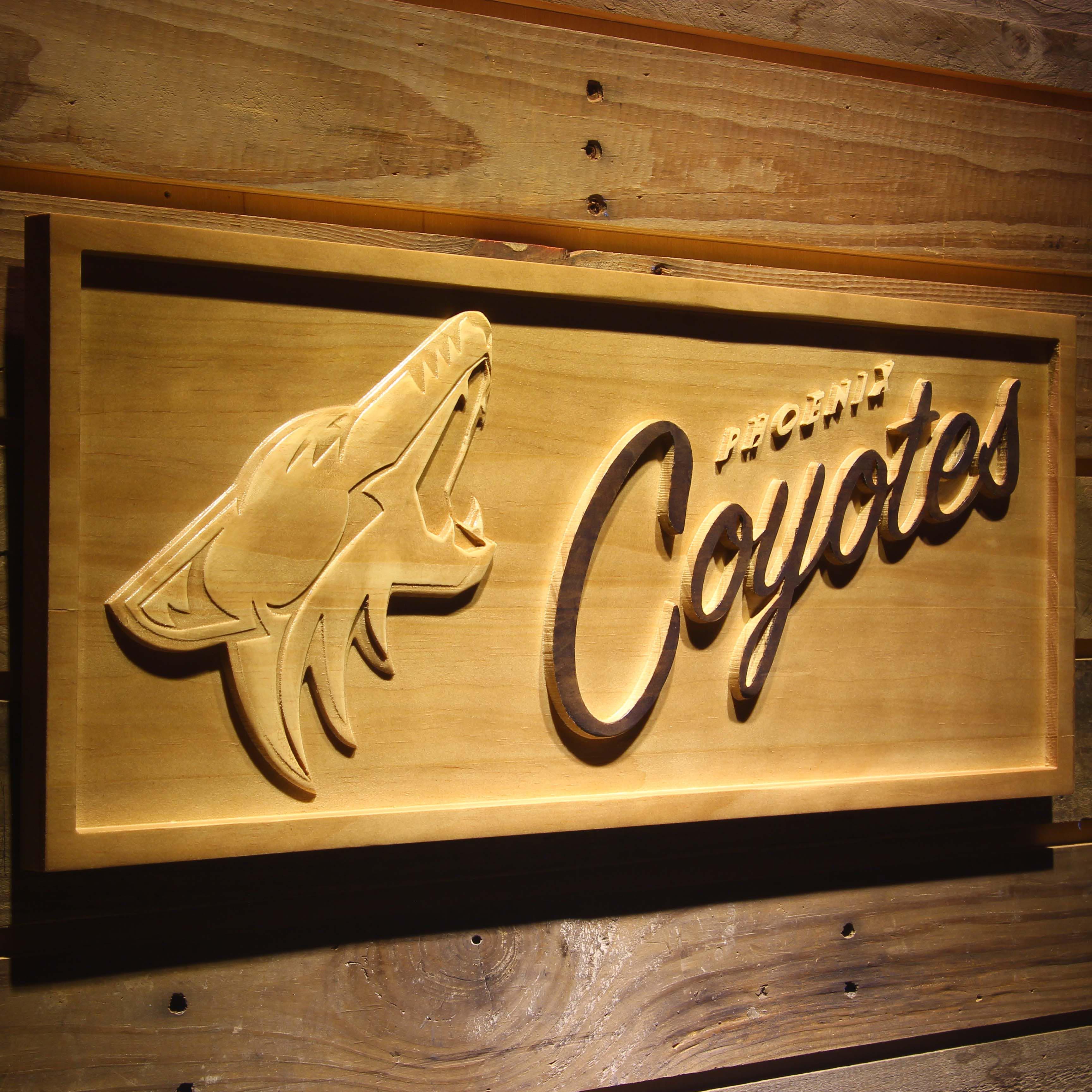 Phoenix Coyotes 3D Wooden Sign