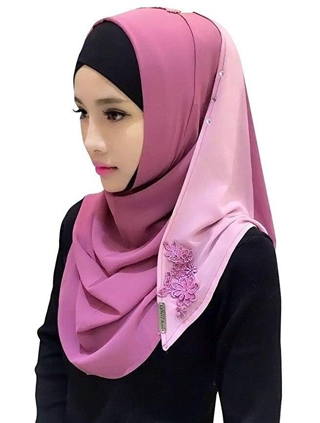 Хлопковый хиджаб шарф, кружевной вышитый сшивание дизайн женский хиджаб платок на голову длинные шали обертывания Джерси мусульманский шарф - Цвет: Color 10