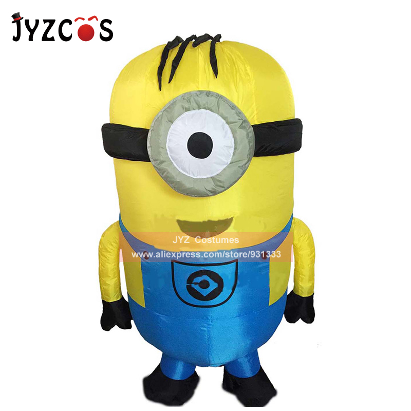 JYZCOS Adult Minion Inflatable Costume Halloween Party Costume Double Single Eyes Minion Mascot Costume Carnival Purim Costume in Holidays Costumes from Novelty Special Use