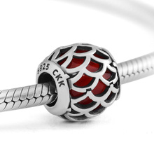 CKK Genuine 925 Sterling Silver Squid Scale Beads With Red CZ Suitable For Pandora Female Charm Bracelet DIY Jewelry