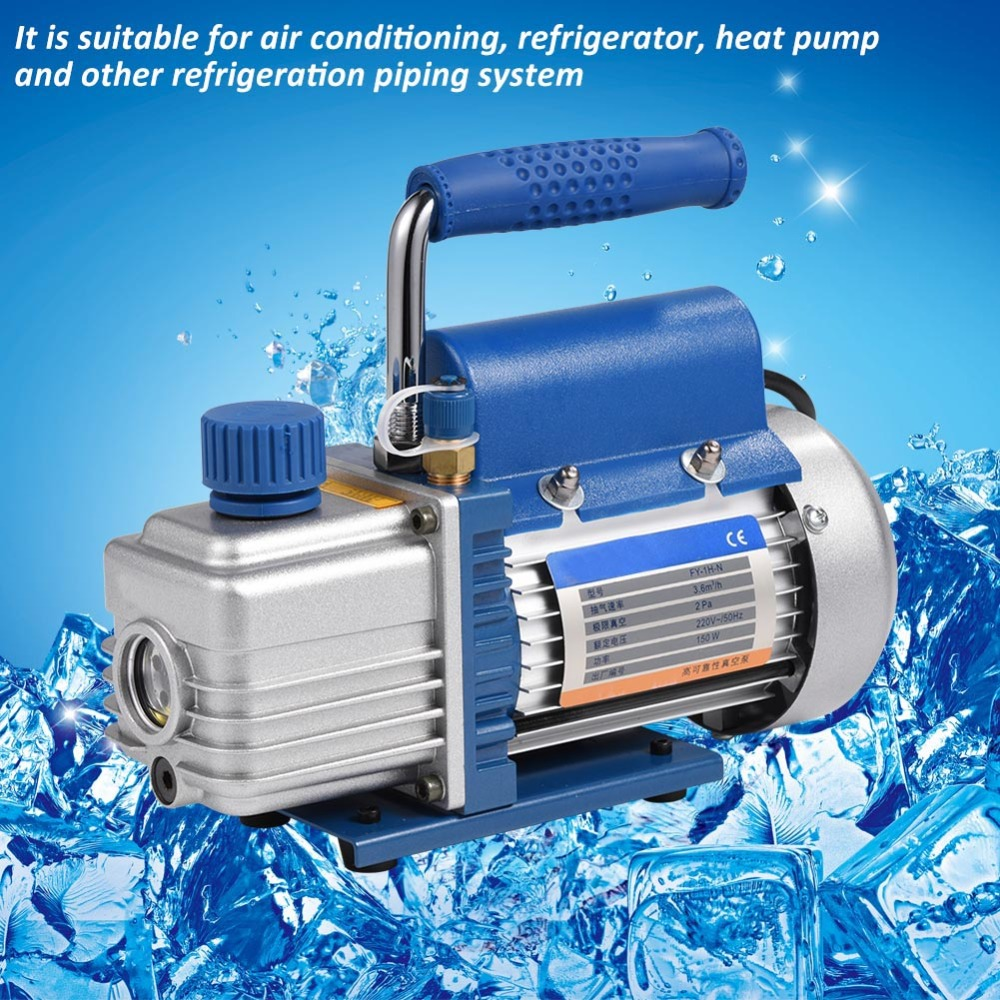 Vacuum Pump 220V Refrigerant Vacuum Pump 150W Single Stage Vacuum Pump for Air Conditioning Refrigerator with Pressure GaugeTube vacuum pump inlet filters f007 7 rc3 out diameter of 340mm high is 360mm