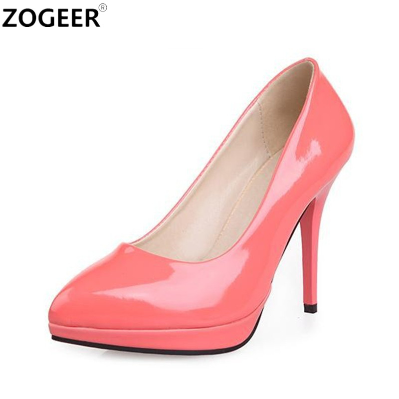 zogeer plus size 34 42 high heels shoes women pumps sweet. Black Bedroom Furniture Sets. Home Design Ideas