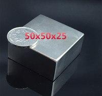 1pcs Block 50x50x25 Mm Super Strong High Quality Rare Earth Magnets Neodymium Magnet 50 50 25