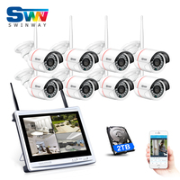 8CH Plug And Play WIFI Video Surveillance Kit 8 LCD Screen Onvif 720P HD 3Array IR