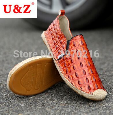 ФОТО Free fast shipping Stylish Men Leather Casual Shoes,Breathable crocodile leather Espadrilles shoes Comfortable