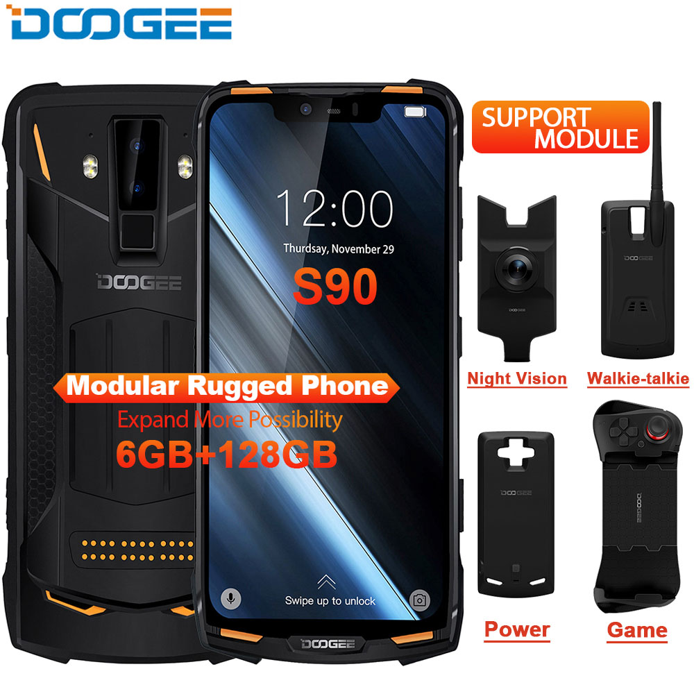 IP68 DOOGEE S90 Modular Rugged Mobile Phone 6.18inch Display 5050mAh Helio P60 Octa Core 6GB 128GB Android 8.1 Andriod 8.1 16.0