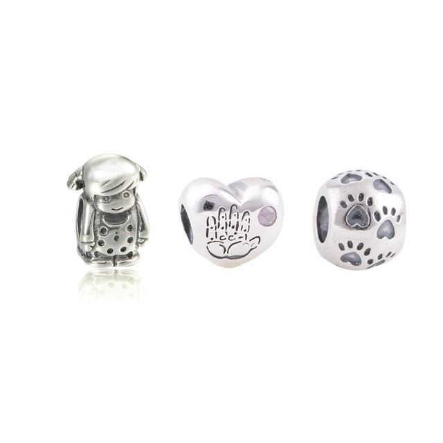 3 pcs 925 Sterling - prata - encantos de jóias serve estilo europeu pulseiras precioso menina coração cão pegada Beads com charme Box