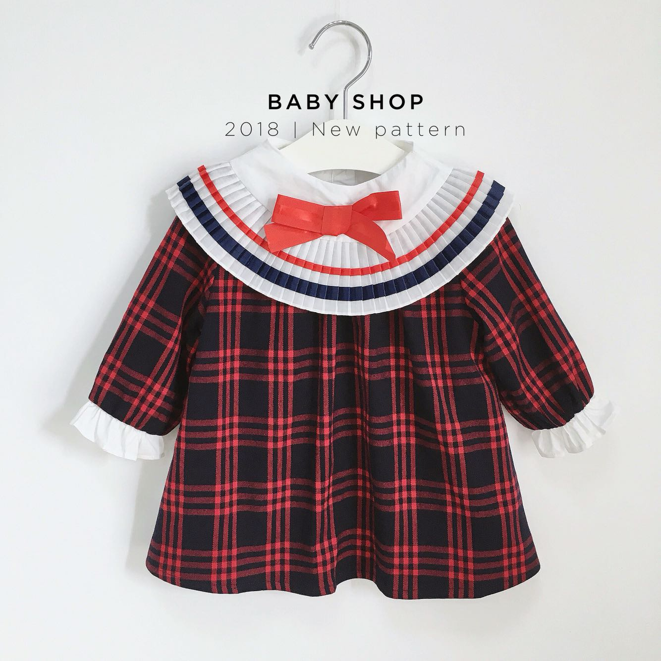 5260 Plaid Ruched Toddler Princess Baby Girls Dresses A-line 2018 Fall Spring Kids Dresses For Girls Wholesale baby girl clothes