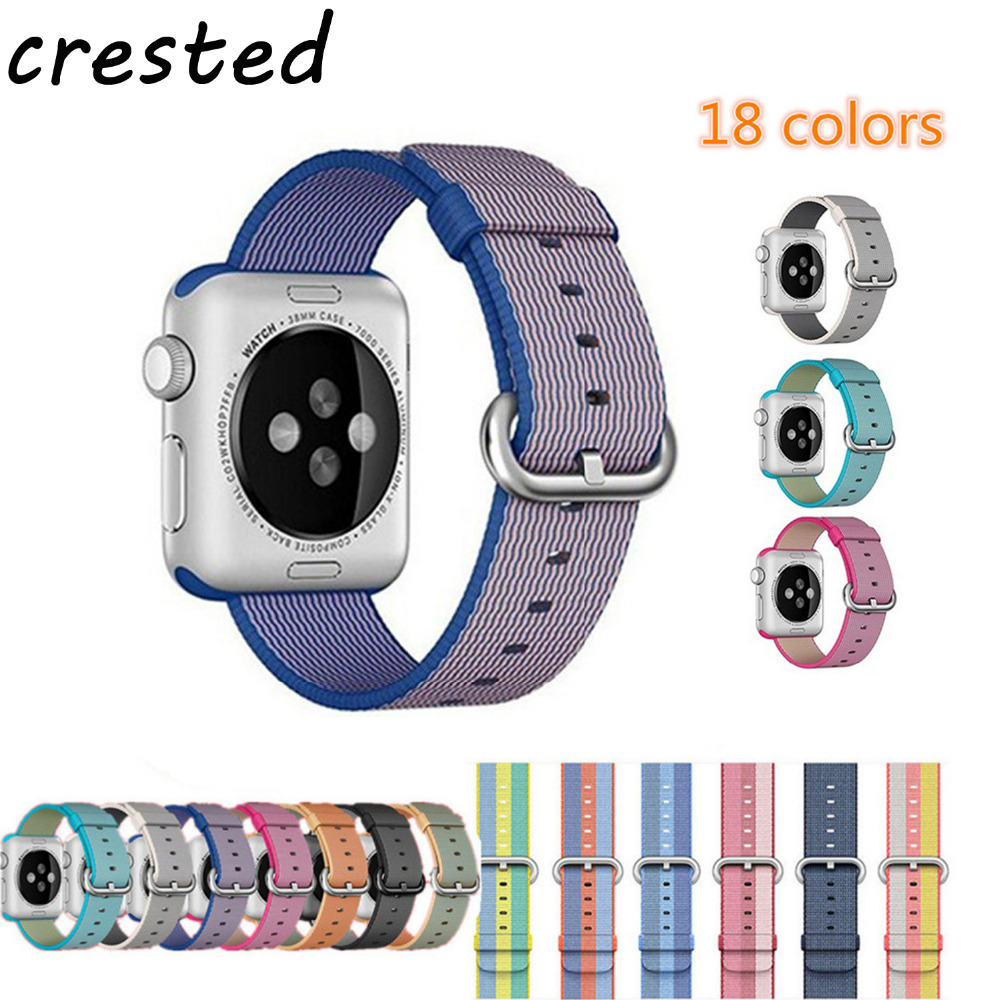 CRESTED Sport nylon strap watch band for apple watch 42mm 38mm wrist bracelet Woven Nylon watchband for iwatch 1/2/3