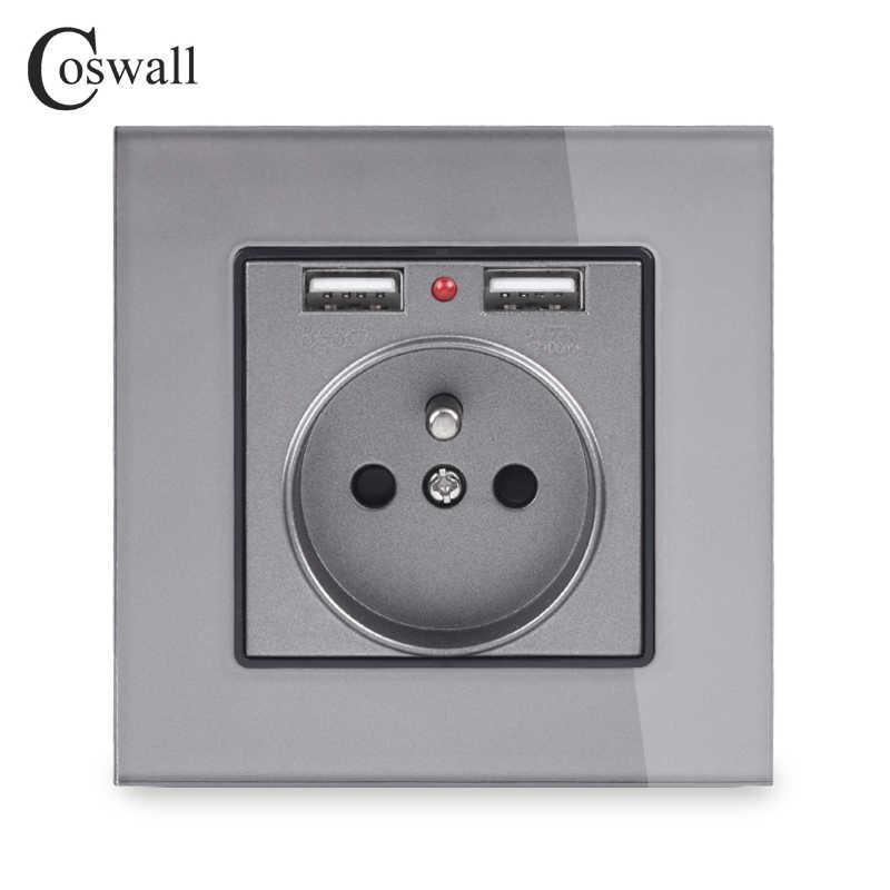 COSWALL デュアル USB 充電ポート 16A 壁フレンチポーランドソケット電源コンセントガラスパネル PC パネルマットグレー色