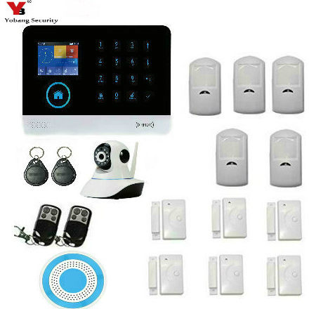 YobangSecurity Wireless GSM Security IP Camera WIFI Home Security Surveillance Alarm System With Flash Strobe Siren Door Sensor yobangsecurity 2016 wifi gsm gprs home security alarm system with ip camera app control wired siren pir door alarm sensor
