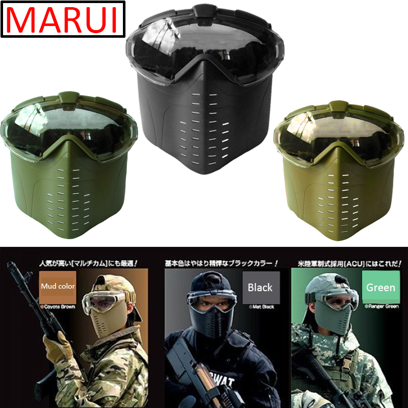 New MARUI Tactical mask fan anti-fog face shield CS Full face protection Paintball Airsoft Army Military Equipment glasses mask купить недорого в Москве