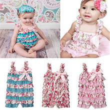 Cotton Newborn Baby Girl Lace Floral pLAysuit Romper Jumpsuit Playsuit Outfits
