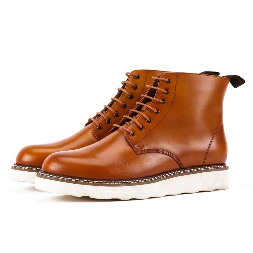 Botas Mano Dedo Kud231 Martin Cuero Plataforma Tobillo Moda Zapatos Hecho Riding De marrón Redonda Plana Pie Cowboy A Negro Genuino Del Hombre Hombres qR8wROxY