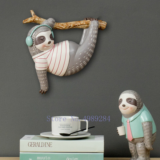 Creative Nordic Resin sloth Wall hanging stereoscopic Cartoon Children s room Home bedroom wall Decoration Wall mount