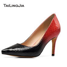 цена Women High Heel Python Pattern Pumps Pointed toe Dress Heels Black Red White Court Shoes Large Size Wholesale Heel Height 8.5cm онлайн в 2017 году