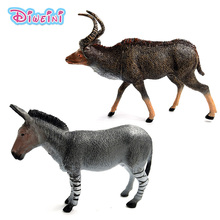 2Pcs Antelope Zebra donkey animal model doll Plastic fairy garden decoration accessories action figure hot set toys for children can animal model provence donkey papo 2010 wholesale children s toys classic collection