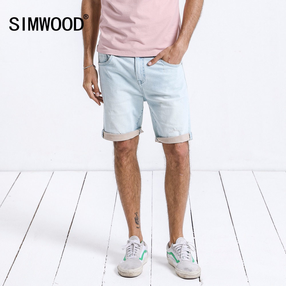 SIMWOOD New Fashion 2019 Summer Denim   Shorts   Casual Slim Fit Knee Length Casual Cotton Straight Brand Clothing 180171