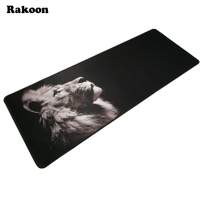 лучшая цена 300x800mm Large Gaming Mouse Pad Gamer Rug Lion Pattern Locking Edge Grande Mousepad Keyboard Mouse Mat for CSGO DOTA 2 LOL Game