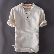 Męskie swetry lniane koszule z krótkim rękawem letnie oddychające męskie jakości koszule na co dzień Slim fit trwała bawełna koszule męskie TS-150 tanie tanio JXKHOMN COTTON Linen MANDARIN COLLAR Jednego przycisku REGULAR Suknem Stałe Fashion