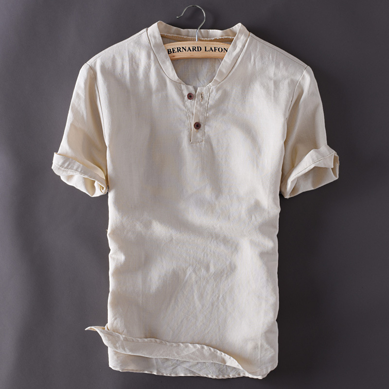Mens pullover linen shirts short sleeve summer breathable for Pull over shirts for mens