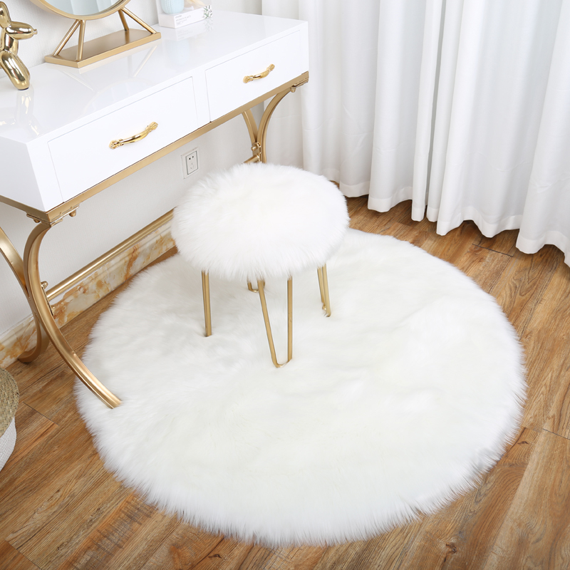Cilected Round Fluffy Faux Fur Carpet For Living Room Kids