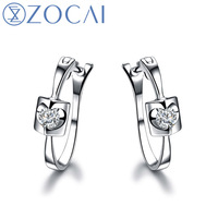 ZOCAI ANGEL S KISS 0 12 CT CERTIFIED H SI DIAMOND LEVERBACK EARRINGS ROUND CUT 18K