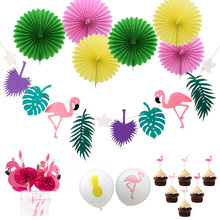 Hawaiian Party Decorations Flamingo Garlands Palm Leaves Cake Topper For Beach Summer Tropical Decoration Supplies