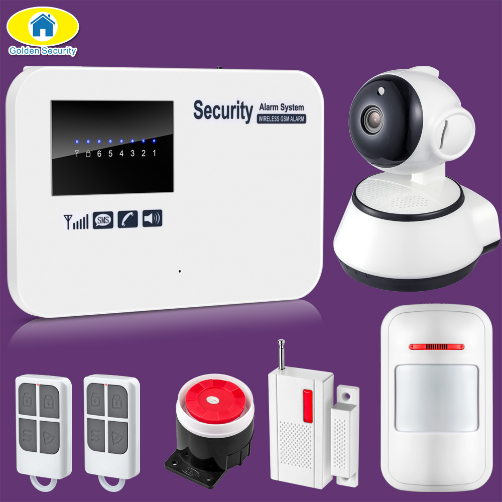 Golden Security Wireless GSM Home Alarm System SMS Autodial House Home Security System Intruder Alarm Russian/English Voice yobang security english russian voice home alarm app gsm alarm system 99 wireless zones wireless wired house alarm smart home