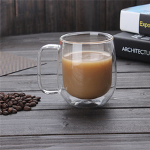 New Arrival! 300ml Handmade Heat Resistance Double Wall Clear Glass Cup Coffee Milk Tea Beer Mug Transparent Drinkware