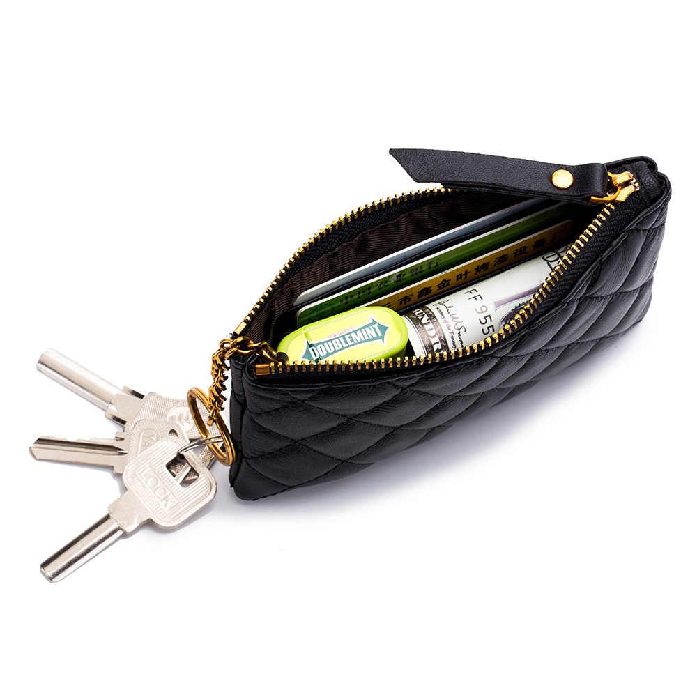 Nouveau Designer Mini porte-monnaie pochette petit matelassé changement portefeuille en peau de mouton véritable cuir filles sacs mode célèbre marque qualité