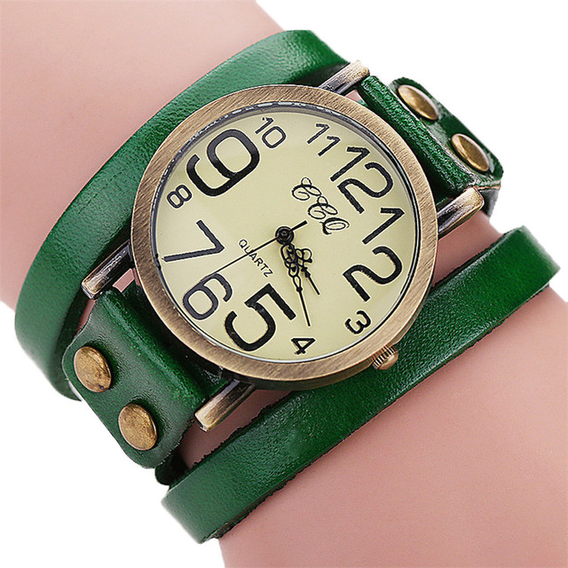 Luxury Brand Vintage Cow Leather Bracelet Watch Men Leather Bamboo Watch Womens Mens Classic reloj mujer relogio feminino P30