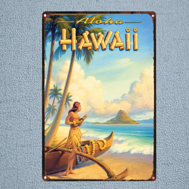HAWAii landscape Metal Tin Sign Vintage Plaque Painting Travel Restaurant Wall Bar Cafe Home Art Craft Decor 30X20CM DU 1128-in Plaques & Signs from ...