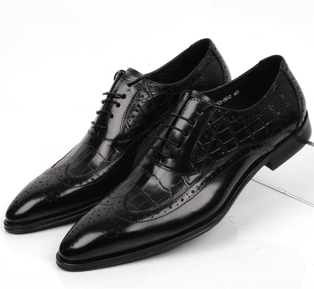 Large Size EUR45 Crocodile Grain Black / Tan Oxfords Mens Business Shoes Genuine Leather Brogues Dress Shoes Man Wedding Shoes