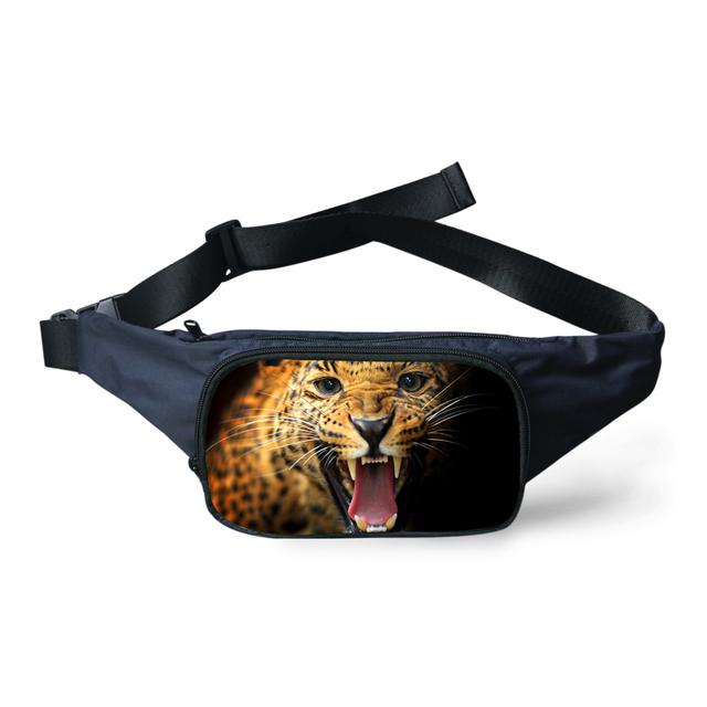 Alta 3D Animal Tiger Leopard Impresión Owl Riñoneras Portátil las mujeres Bolso de La Cintura Fanny Bolso de La Correa Riñonera Señora Girls Bumbag