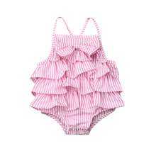 0-18M Cute Newborn Baby Girls Striped Bowknot Bodysuit Sleeveless Ruffle Backless Strappy Sunsuit Princess Summer Clothes