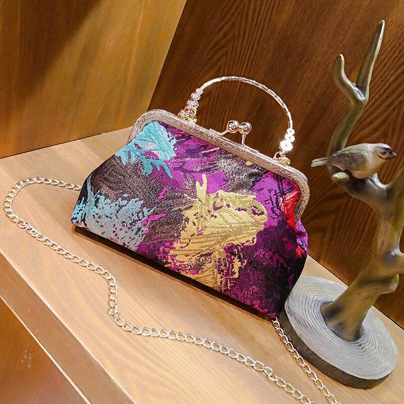 Scrawl Frame Tote Graffiti Handbag Clip Hasp Chain Bags Vintage Colorful Tassel Shoulder Bag Crossbody Purse Free Shipping