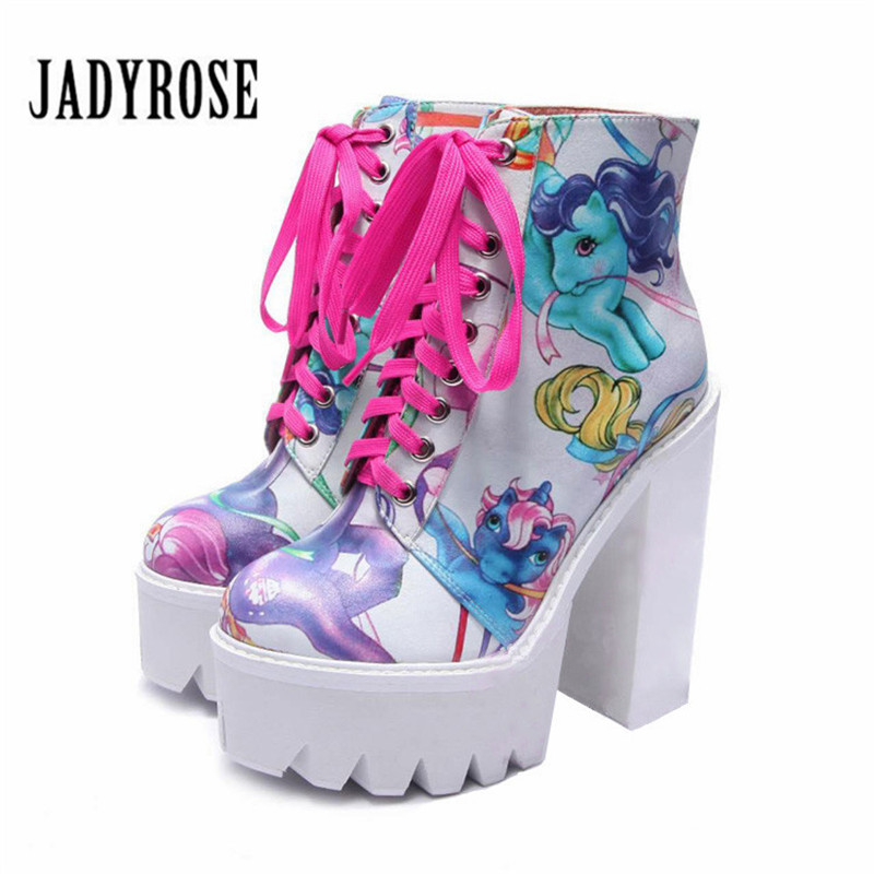 Jady Rose Fashion Print Women Ankle Boots 14CM Chunky High Heel Lace Up Platform Boot Female Martin Boots Rubber Botas Mujer jady rose sexy black women ankle boots female genuine leather chunky high heel boots lace up women platform pumps autumn botas